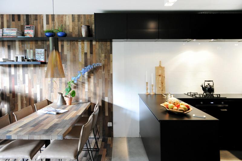 wooden black interior