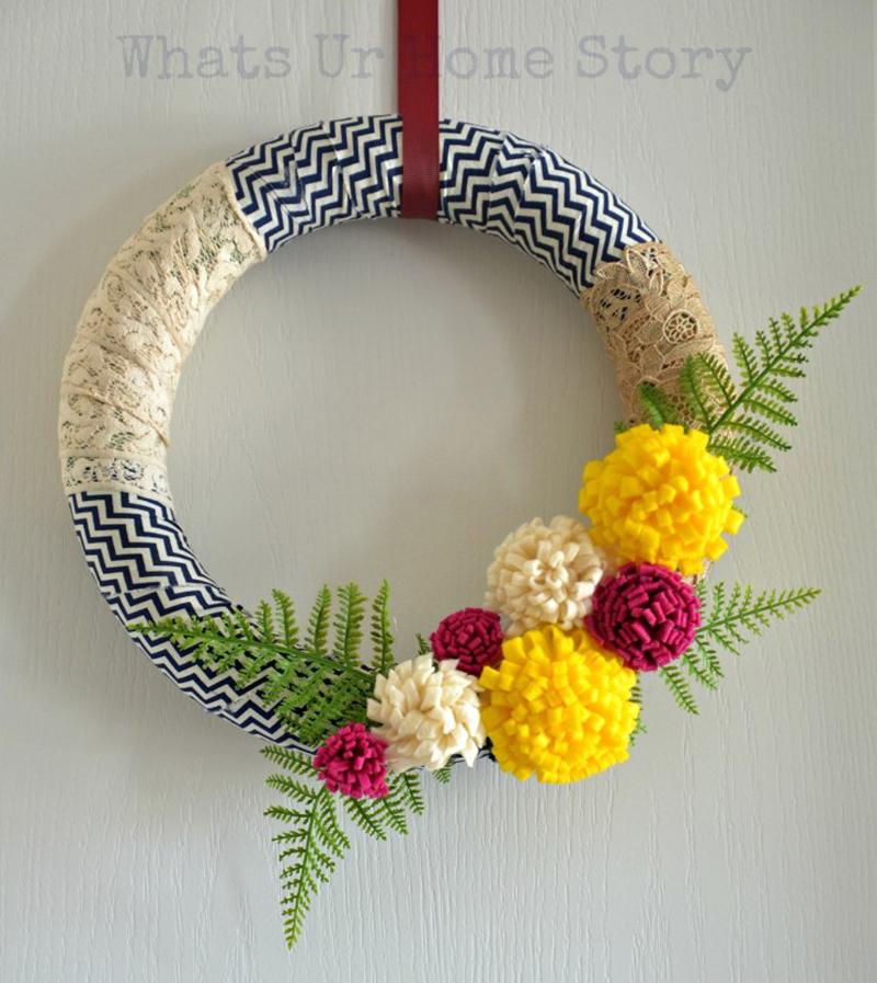 Fabric Scrap Wreath with Felt Flowers