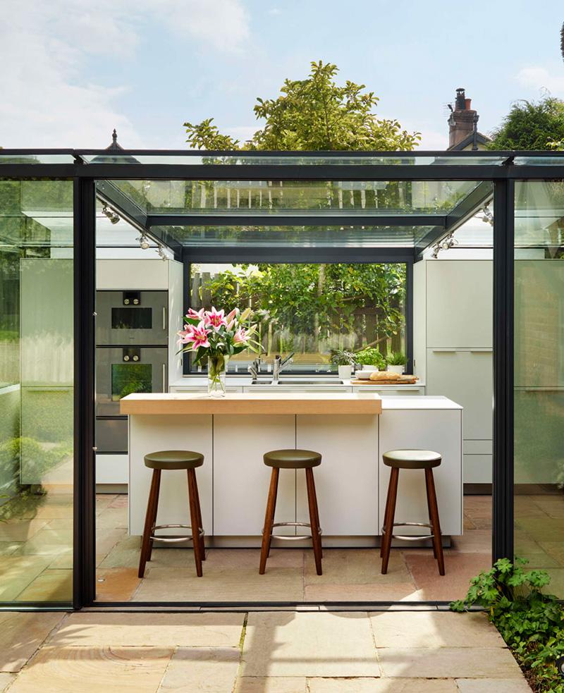 glass box kitchen stools