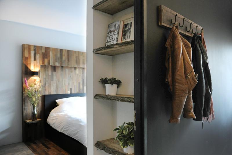 wooden black interior bedroom wood