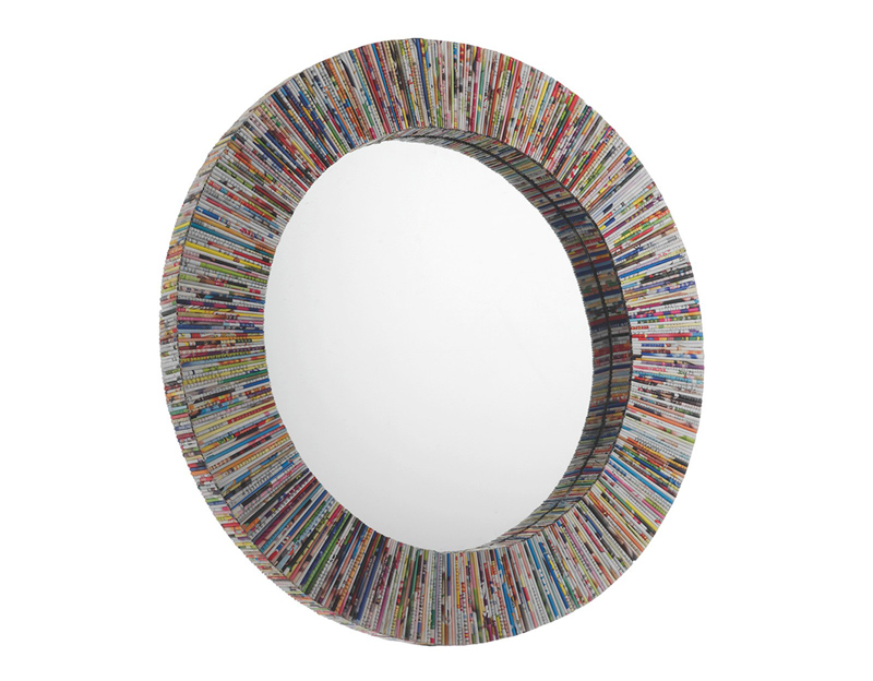 Multi-Colored Recycled Magazine Round Wall Mirror