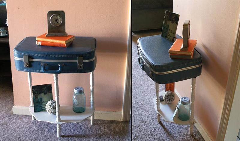 Repurposed suitcase table