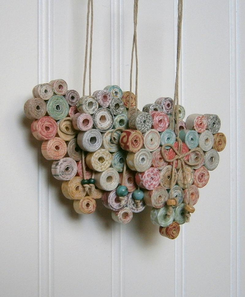 Hanging Heart Ornament - Handmade Magazine Paper Decor