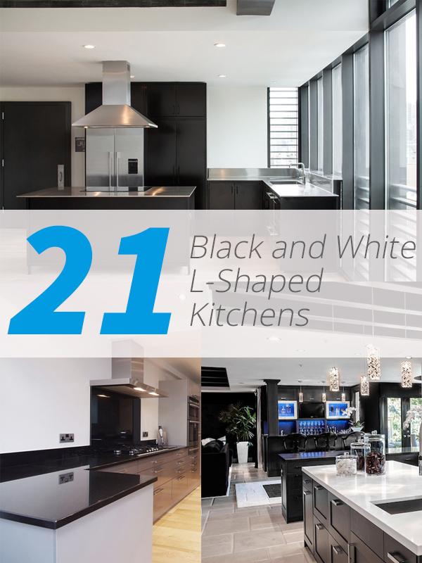 black white L kitchen