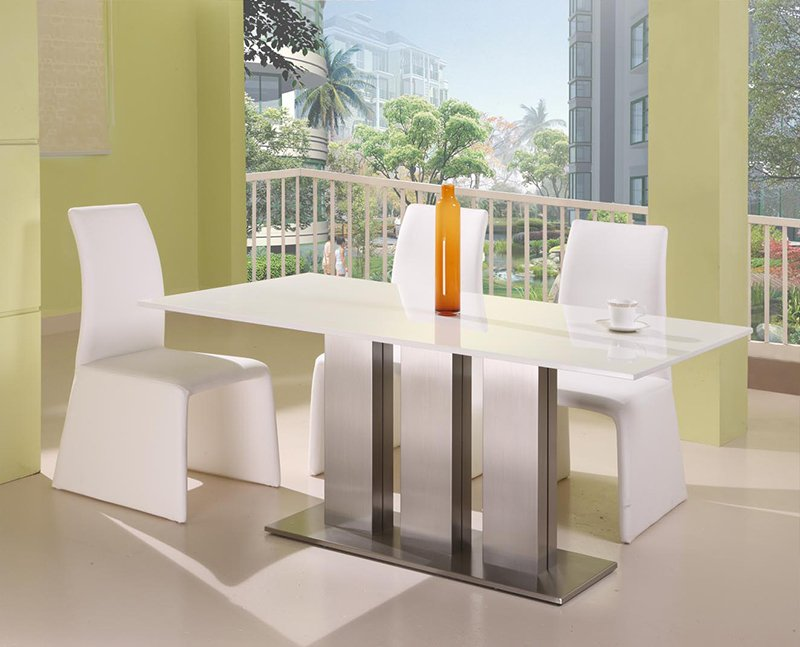 Seattle Ultra Modern Ice White Marble Dining Table + 6 Dining Chair Set