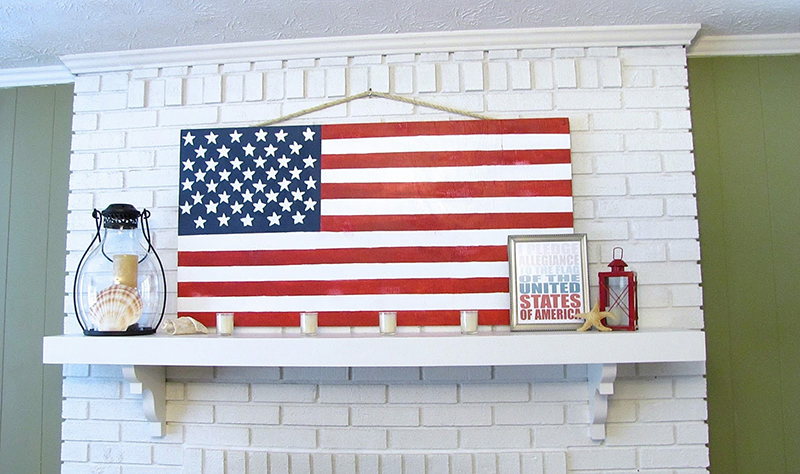 Patriotic Mantel and DIY Plywood Flag