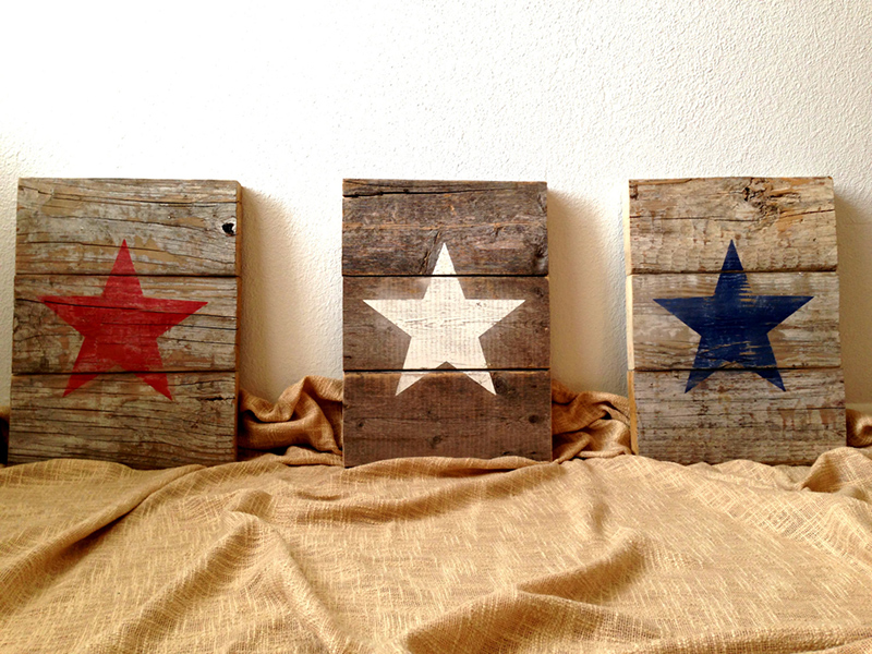 Pallet Wood Patriotic American Star Signs