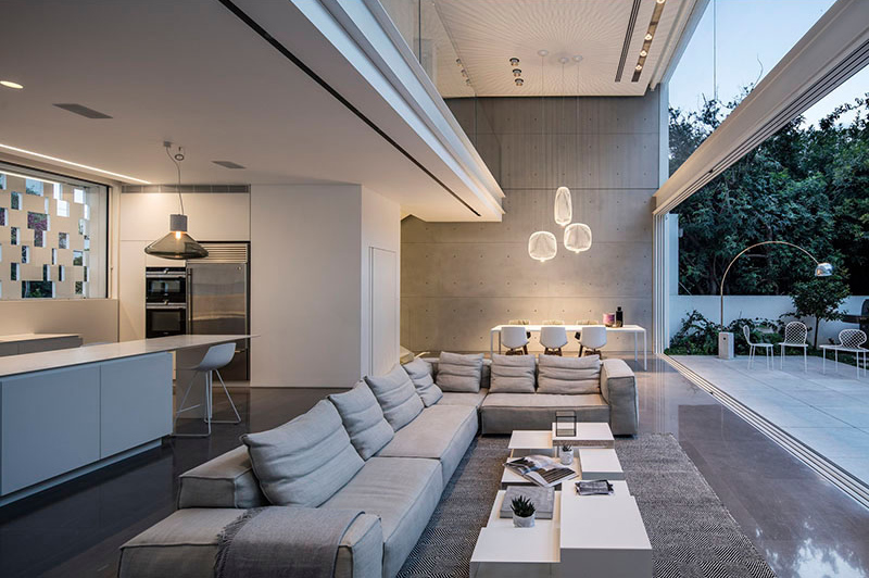 A Lovely Indoor And Outdoor Living Room In Israel Home