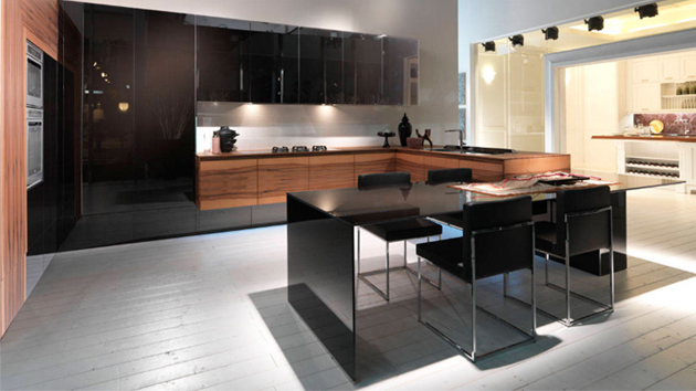 22 kitchens in black and wooden palette home design lover - Black and wood kitchen ...