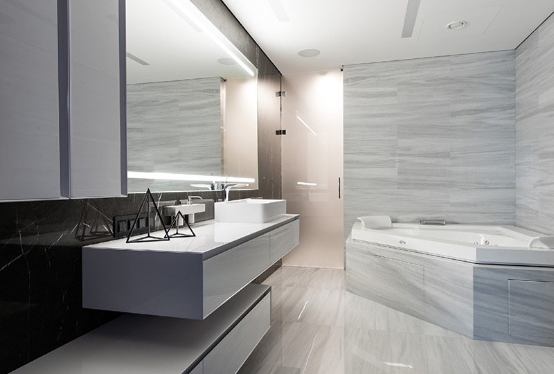 Black and White apartment bathroom
