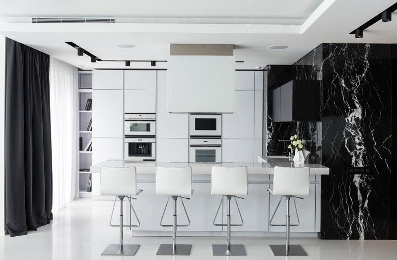 Black and White apartment kitchen