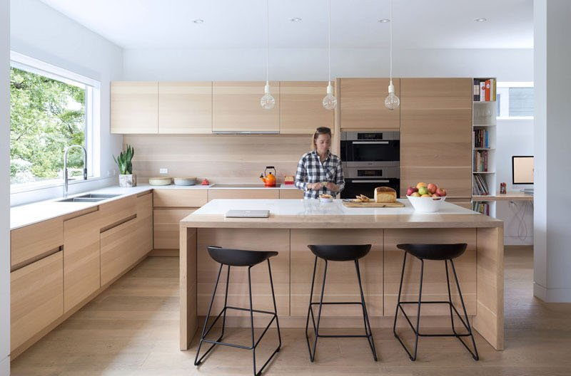 Mid-Block Contemporary House kitchen island