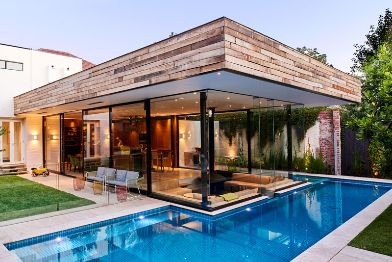 Swimming Pool House Featuring A Sunken Living Room Home Design Lover
