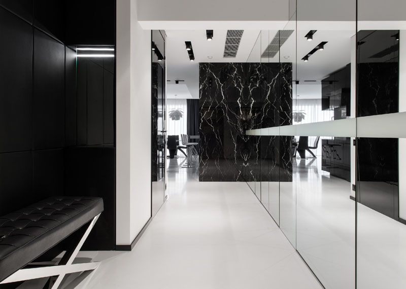 Black and White apartment hallway