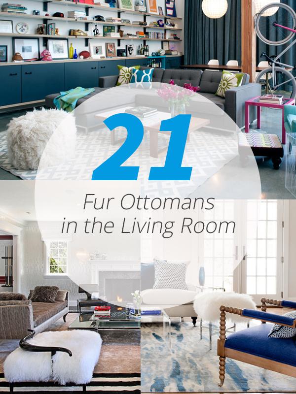 fur ottoman living room