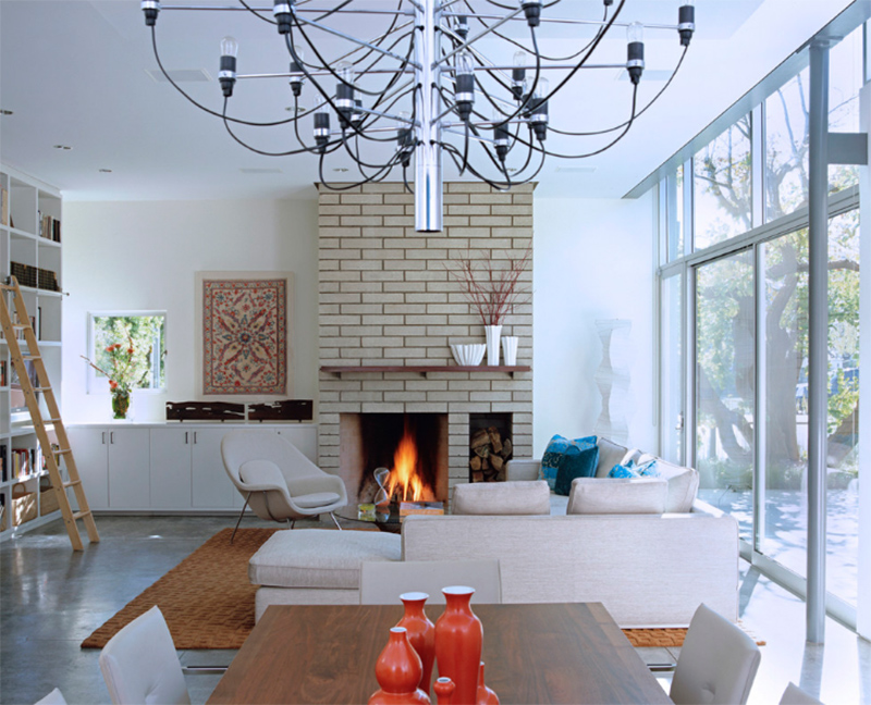 Modern Living Room With Brick Fireplace 20 painted brick fireplaces in the living room | home design lover