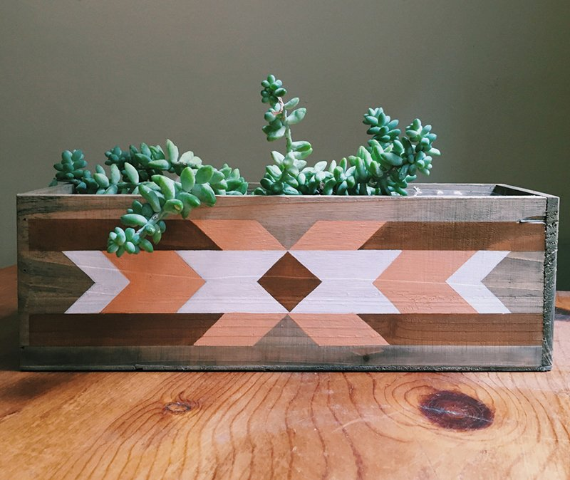 Wooden Planter Box with Geometric Painting