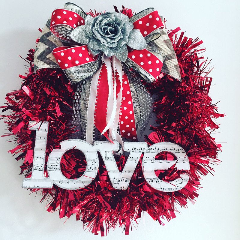 Valentine Wreath With Music Note Paper