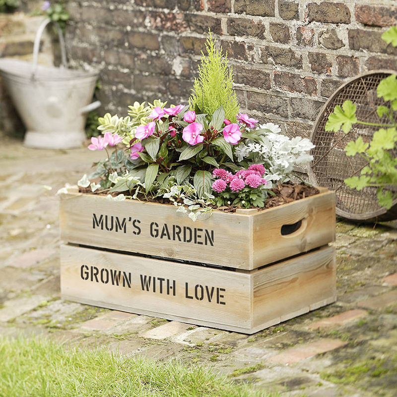 Personalized Wooden Crate Planter