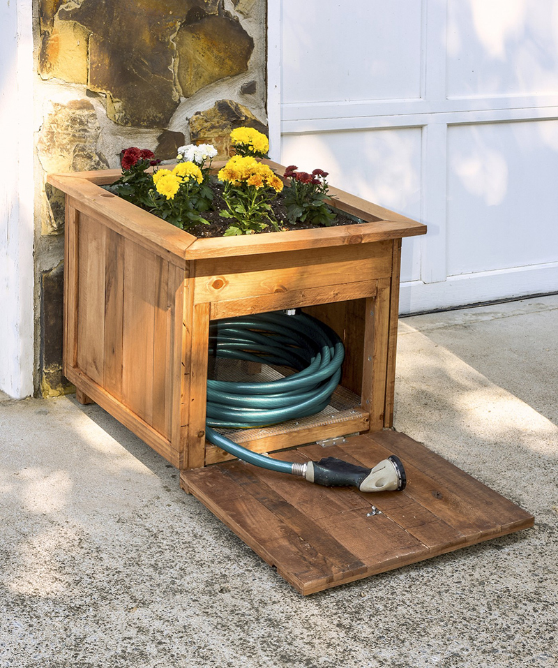 garden hose storage with planter - Garden Hose Storage