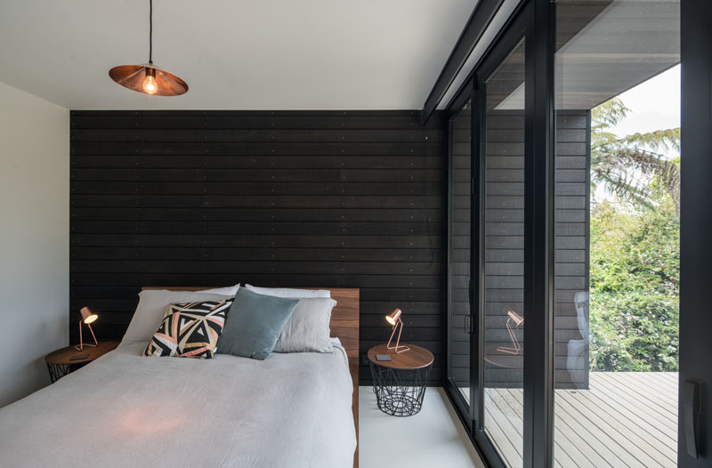 Waiheke black wooden accent bedroom