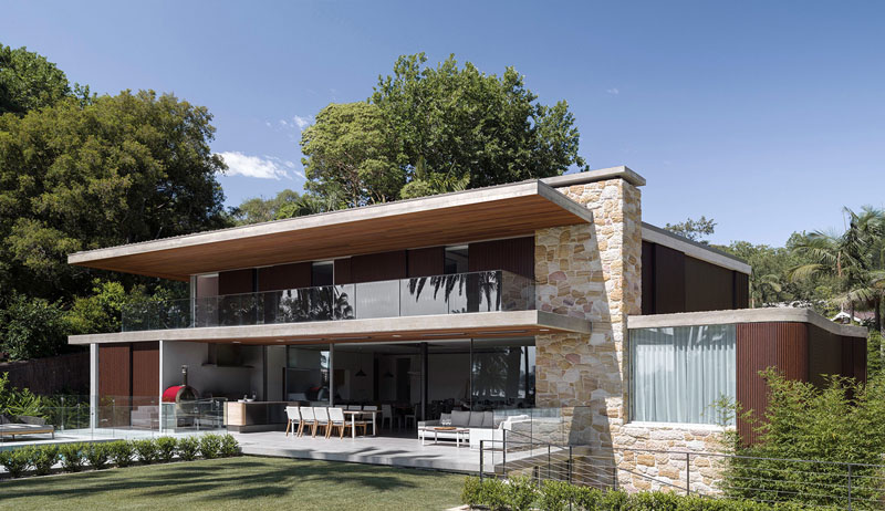 modern stone and timber house