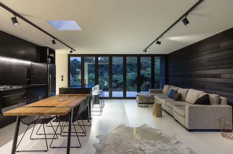 Waiheke open planned living room and kitchen
