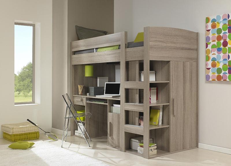 Gami Montana Loft Beds with Desk, Closet & Storage Underneath
