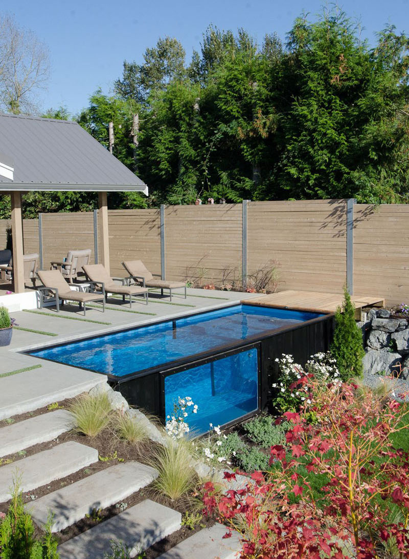 Shipping Container Swimming Pool side