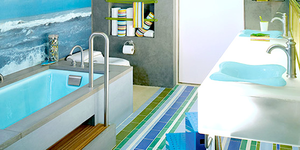 make sure walls are easy to clean and durable in decorating kids bathroom