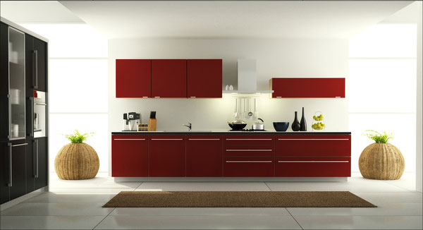 Lovely Red Cabinet Doors. This Kitchen Design ...