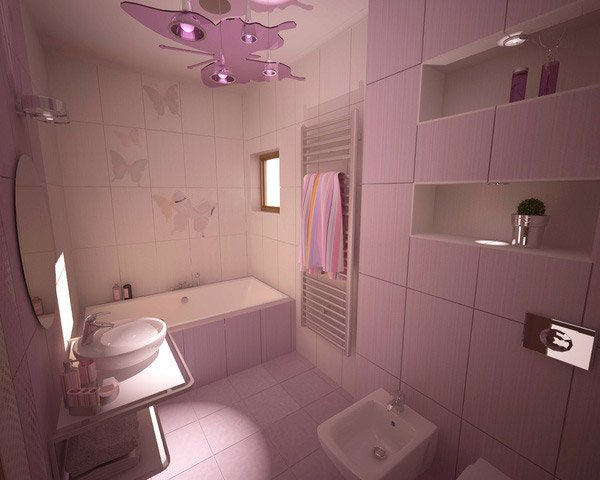 another bathroom with purple accent