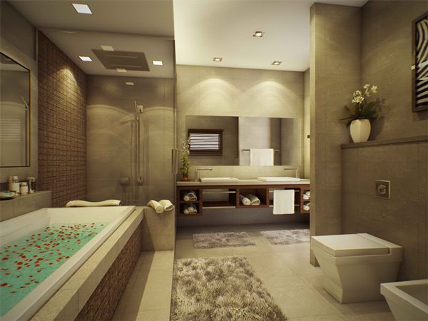 15 stunning modern bathroom designs home design lover for Master bathroom ideas 2015