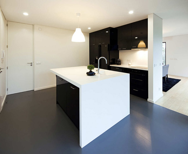 minimal black white kitchen