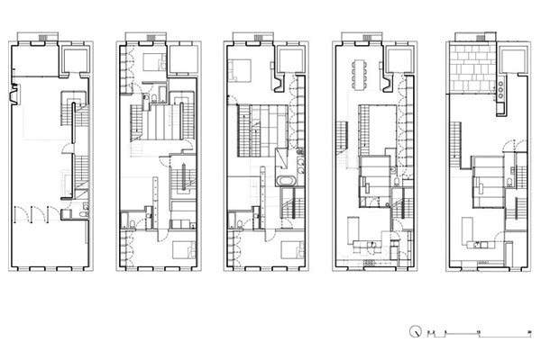 The inverted warehouse townhouse of new york home design for Plans for townhouses