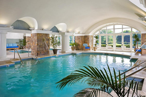 18 rejuvenating indoor pool inspirations home design lover for Mansion plans with indoor pool