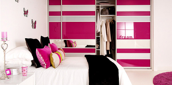 Pink White Glass Bedroom