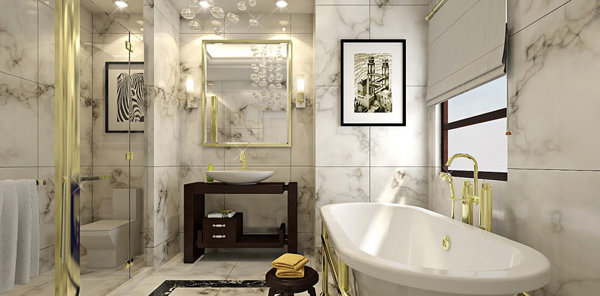 How to decorate a large bathroom for better function and for Oversized baths