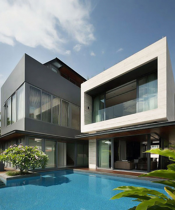 Contemporary travertine dream house in serangoon for Modern house front view
