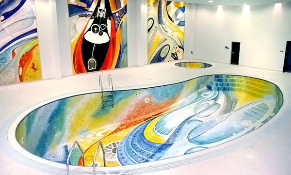 Colorful Floor Tiles Design. Kidney Shaped Indoor Pool Colorful ...