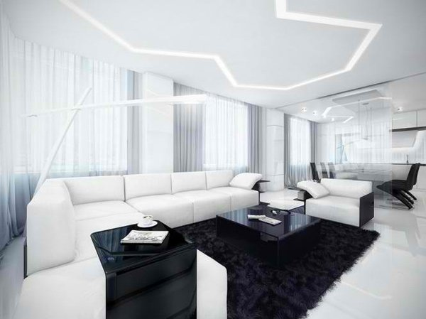 Beautiful White And Black Living Area