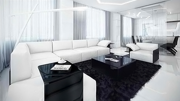 20 modern contemporary black and white living rooms home for Salon blanc et beige design