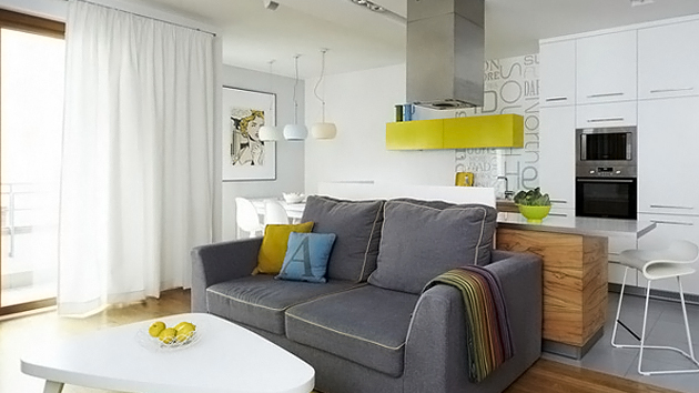 The vibrant colors of the interior of the apartment in for Designer apartment krakow