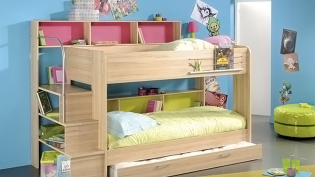 Kid 39 s bedroom furniture space saving bunk beds home - Childrens small bedroom furniture solutions ...