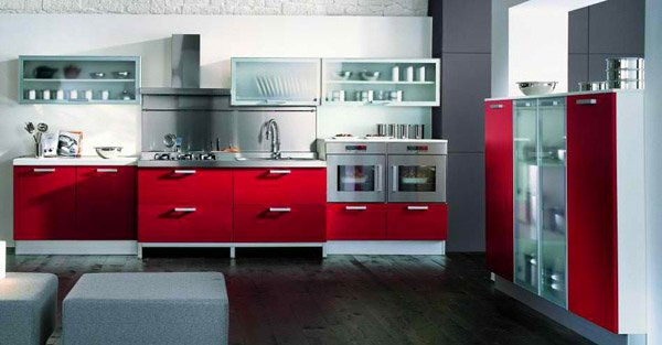 15 stunning red kitchen ideas home design lover for Kitchen designs red and black