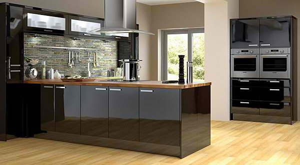 15 bold and black kitchen designs home design lover for Black kitchen cabinet doors