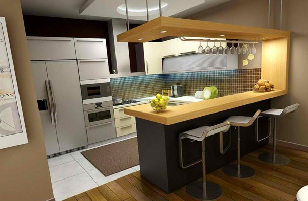 Modern Kitchen With Bar - Home is Best Place to Return