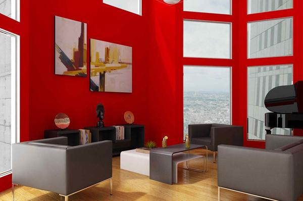 modern red room