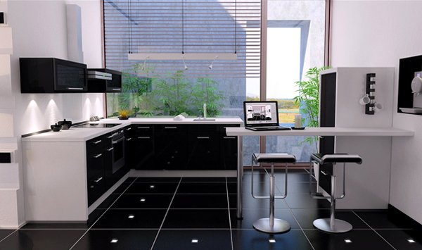 black floor tiles lighting