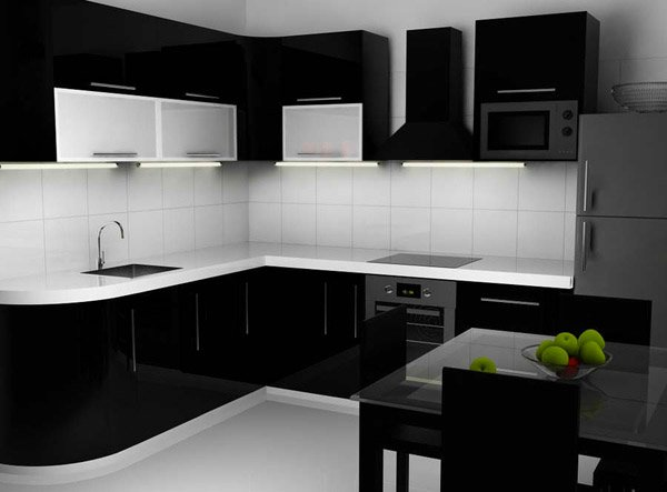 15 bold and black kitchen designs home design lover for Black gloss kitchen ideas